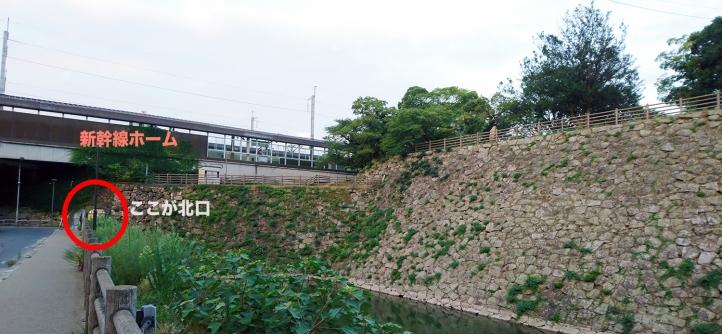 三原駅北口と城の天守跡